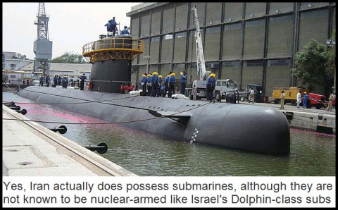Yes, Iran actually does possess submarines, although they are not known to be nuclear-armed like Israel's Dolphin-class subs