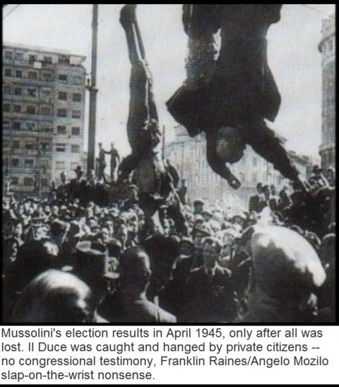 Mussolini's election results in April 1945, only after all was lost.  II Duce was caught and hanged by private citizens-no congressional testimony, Franklin Raines/Angelo Mozilo slap-on-the-wrist nonsense.